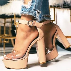 NEW🔥 Clear Open Toe Chunky Heel Platform Sandals